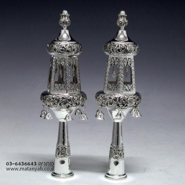 Two Tier Silver Bells for Sefer Torah