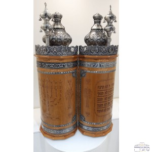 Torah Case - Menoraha in Pewter integrated w/ Wood