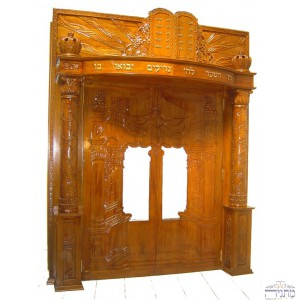 Vilna Gate w/ Pillars & Tablets Hand Carved Mahogany