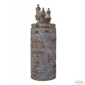 Crown & Menorah - Silver & Gold Torah Case