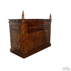 Hand Carved Mahogany Wood Bimah w/ Temple Engravement