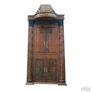 Rambam Menorah w/ Pillars Deep Carved Mahogany Aron Hakodesh