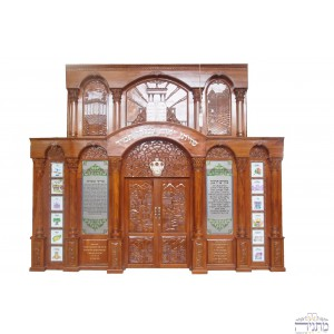 Luxurious Wide Jerusalem w/ Pillars Hand Carved Mahogany Aron Hakodesh w/ 12 Tribes Stained Glass