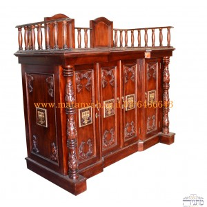 Luxurious Hand Carved Mahogany Wood Sephardic Bimah w/ Menorahs