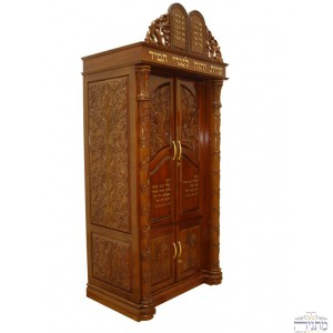 Narrow Aron Hakodesh w/ Oriental Carvings