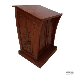 Hand Carved Dark Mahogany Wood Narrow Bimah w/ Cabinet