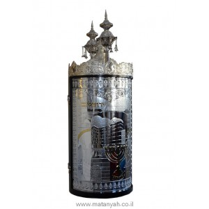 Torah Case - Jerusalem & Menoraha in Silver integrated w/ Wood