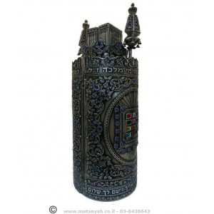 Torah Case - Chosen, Temple & Blue Crystal Stones in Pewter