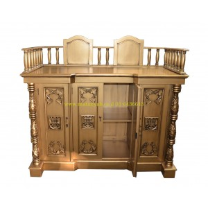 Luxurious Hand Carved Gold Sephardic Bimah w/ Menorahs