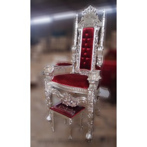 King Elijah Chair Silver Red