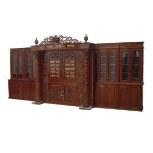 10 Commandments Hand Carved Mahogany Aron HaKodesh w/ 2 Glass Libraries