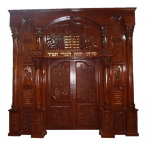 Jerusalem & Tablets Hand Carved Mahogany Aron HaKodesh