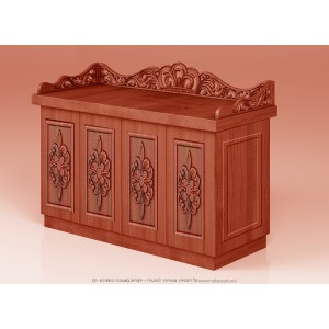 Hand Carved Classic Mahogany Wood Bimah w/ Flower Ornaments