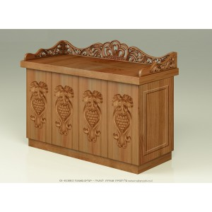 Hand Carved Classic Mahogany Wood Bimah w/ Grape Ornaments