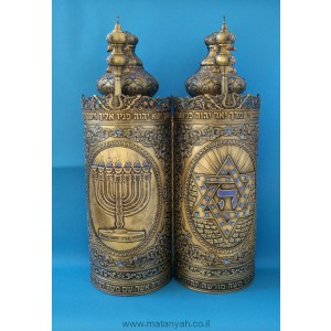 Torah Case - Menorah/Star of David in Pewter