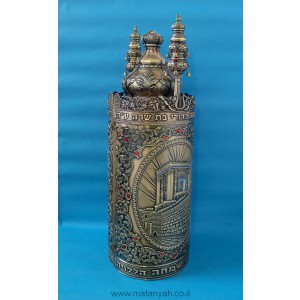 Torah Case - Temple & Wall in Pewter