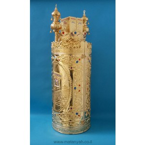 Torah Case - Temple & Wall in Gold