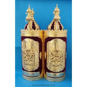Torah Case - Tablets & 7 Species in Velvet w/ Gold