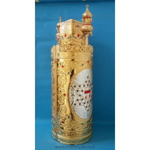 Torah Case - Temple & Star of David in Silver w/ Gold