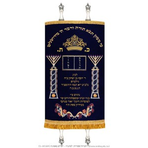 Rambam Menorahs and Tablets - Blue & Gold