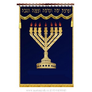 Rambam Menorah on Blue