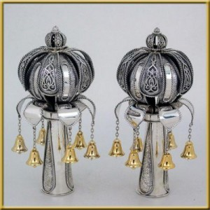 Pure Silver Crown Torah Finials w/ Gold Bells