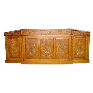 Wide Hand Carved Light Mahogany Wood Bimah w/ Benches & Library