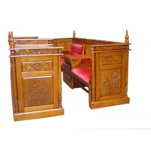 Hand Carved Classic Mahogany Wood Bimah w/ Benches & Library