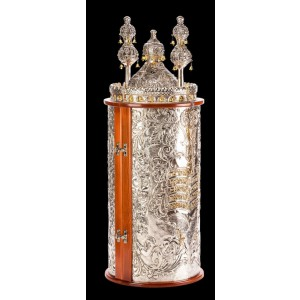 10 Commandments - Silver & Wood Torah Case