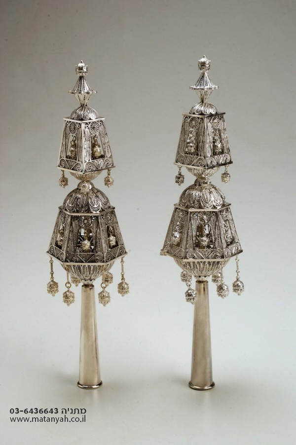 Pure Silver Authentic Delicate Torah Finials 925 w/ Bells
