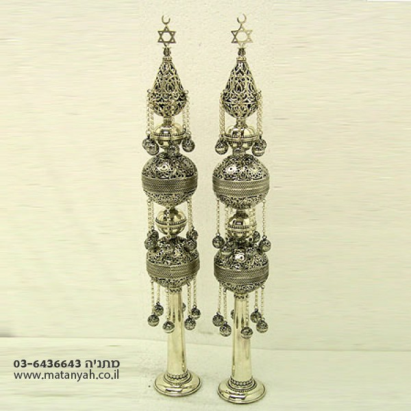 Pure Silver Tall Tunisian Torah Finials