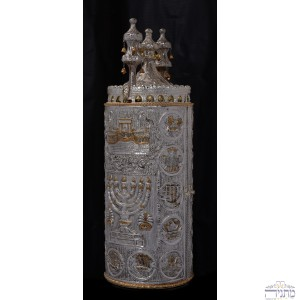 Temple w/ Menorah & 12 Tribes - Silver & Gold Haftarah Case