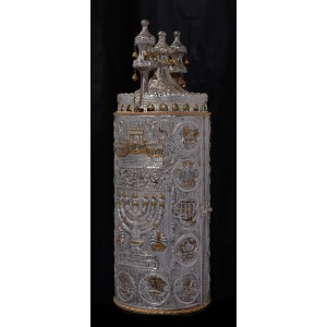 Temple w/ Menorah & 12 Tribes - Silver & Gold Haftra Case
