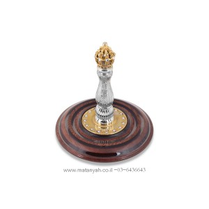 Torah Rollers - Golden Diamond Crown Integrated w/ Wood