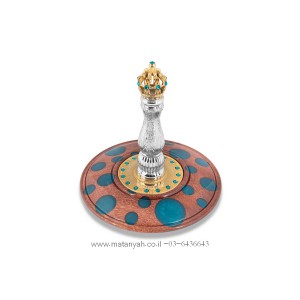 Torah Rollers - Gold Plated Crown Integrated w/ Wood