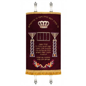 Torah Mantel - Twin Menorahs, Crown & Tablets