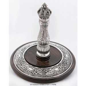 Decorated Disc - Wood & Silver Etz Chaim Torah Rollers