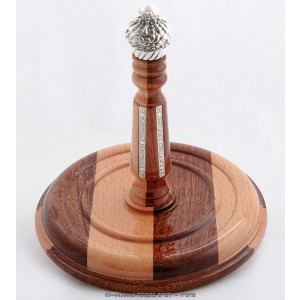 Integrated Mahogany Wood & Silver Torah Rollers