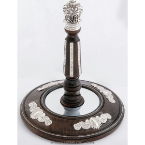 Integrated Wood & Silver Torah Scroll Rollers