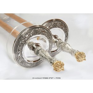 Luxury Silver w/ Gold Plated Crown Torah Rollers