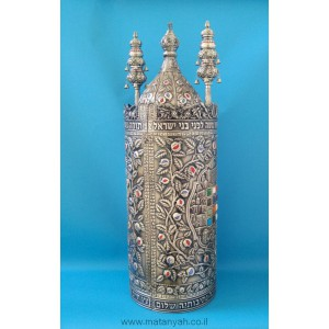 Torah Case - Chosen & Rimonim in Pewter