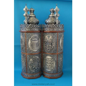 Torah Case - Judaic in Pewter integrated w/ Wood