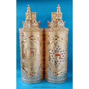 Torah Case - Temple & Star of David in Gold
