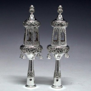 Two Tier Sterling Silver Finials w/ Bells