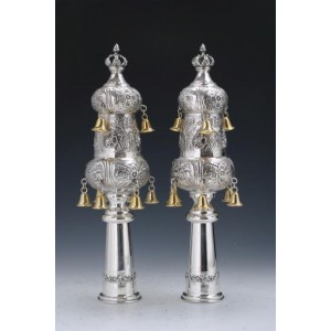 Sterling Silver Two Tier Rimonim for Sefer Torah