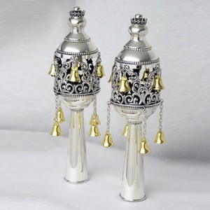 Pure Silver Engraved Torah Finials w/ Gold Plated Bells