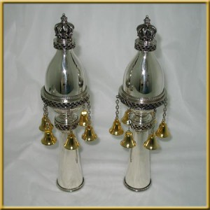 Pure Silver Oval Loop Torah Finials w/ Gold Plated Bells