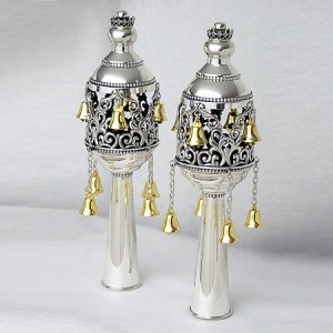 Pure Silver Classic Torah Finials w/ Gold Plated Bells